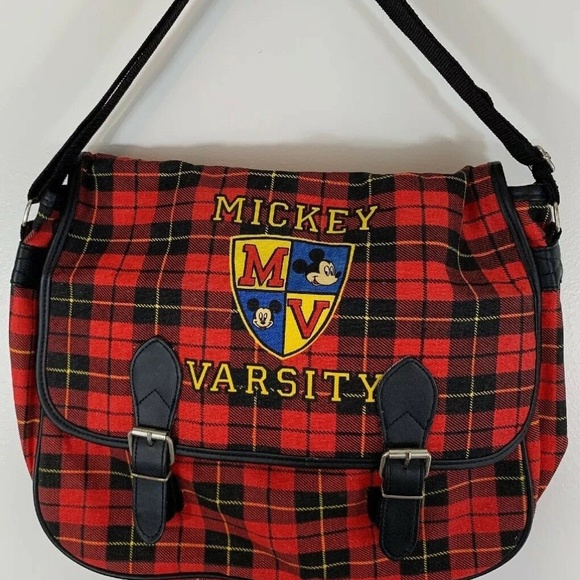 Vintage Handbags - Disney Mickey Mouse Varsity Plaid Book Bag Purse